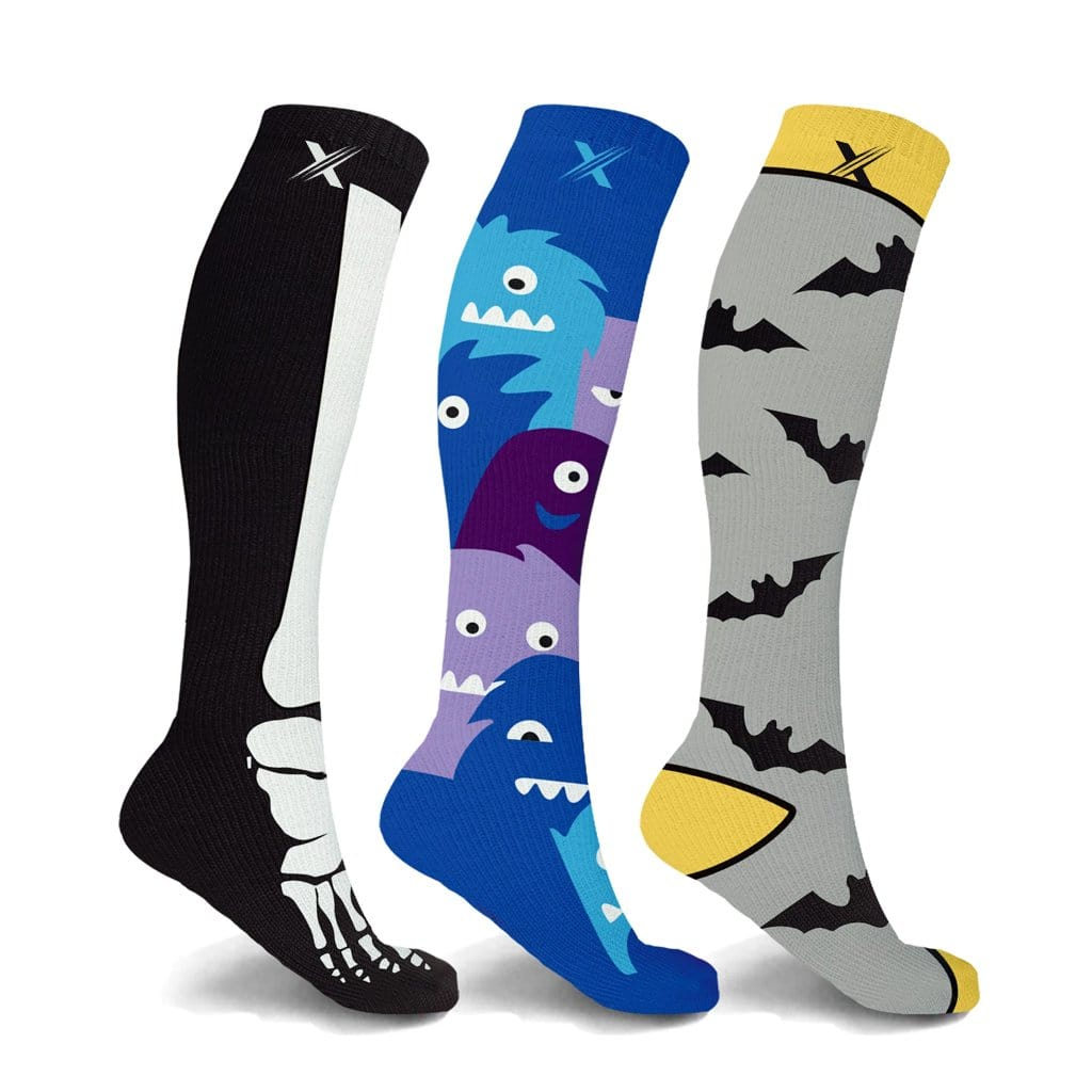 BONES, BATS, & BEASTS COMPRESSION SOCKS (3-PAIRS)