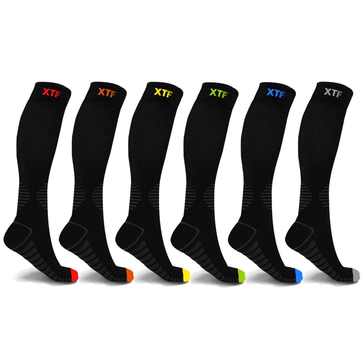 COLORED TOES COMPRESSION SOCKS (6-PAIRS)