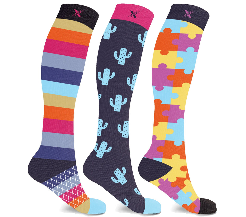 CACTUS PUZZLES COMPRESSION SOCKS (3-PAIRS)