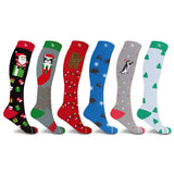 XMAS COMPRESSION SOCKS (6-PAIRS)