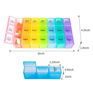 TheraRx 3-Times-a-Day Weekly Pill/Vitamin Organizer - Colorful, Large Compartments, Detachable Trays