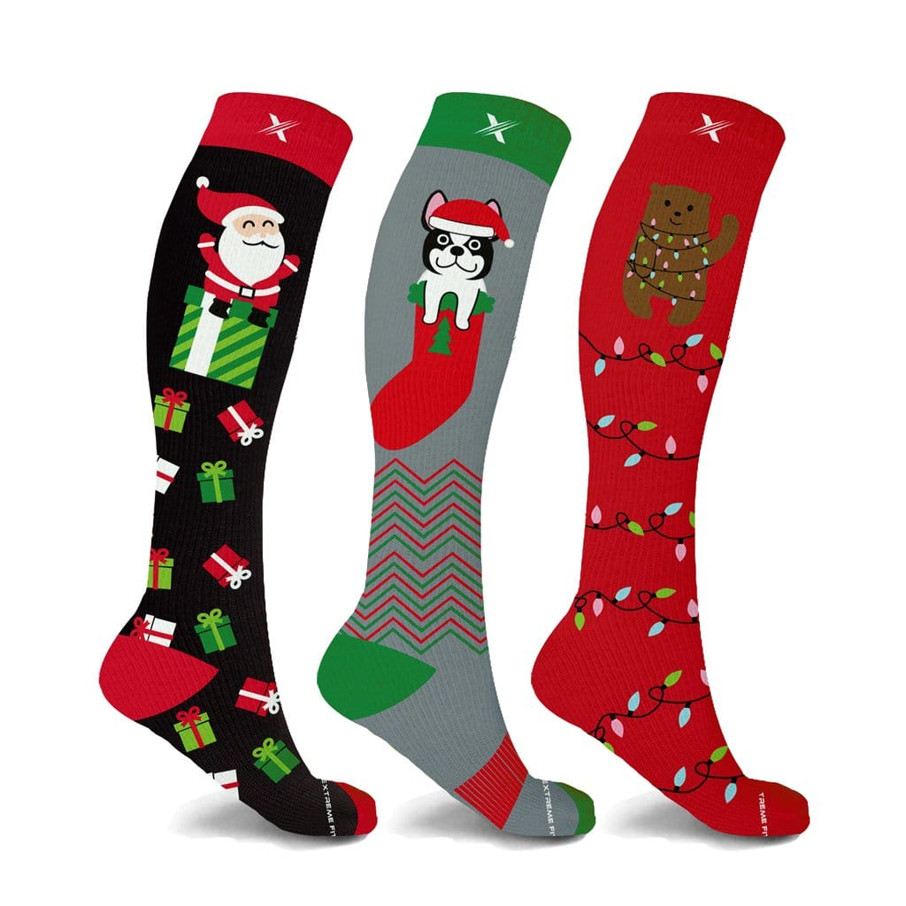 XMAS PRESENTS COMPRESSION SOCKS (3-PAIRS)