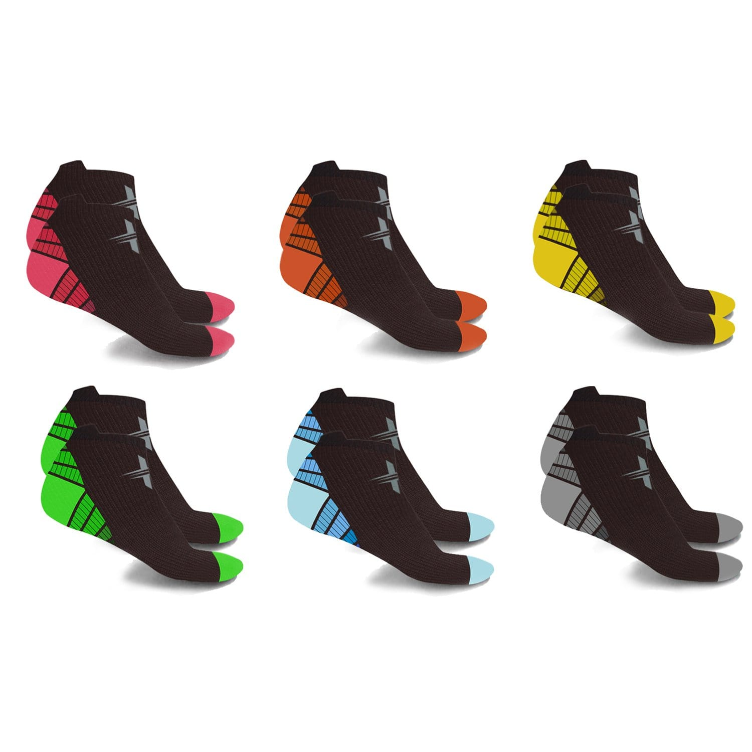 ANKLE-LENGTH SPORTS COMPRESSION SOCKS (6-PAIRS)