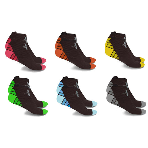 <b>6-PAIRS</b><br>ANKLE-LENGTH SPORTS COMPRESSION SOCKS