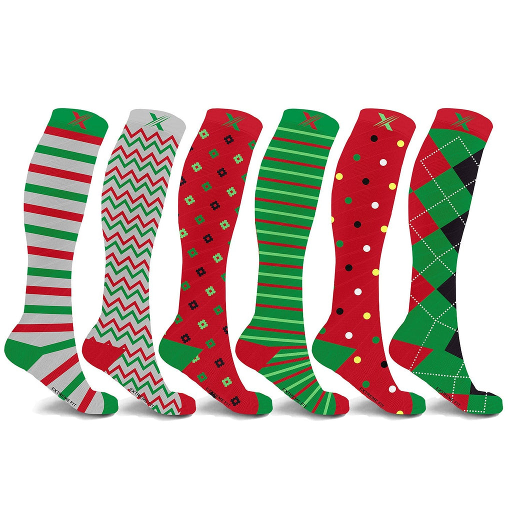 HAPPY HOLIDAYS COMPRESSION SOCKS (6-PAIRS)