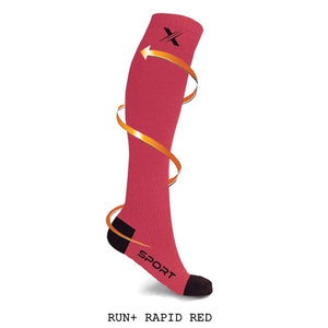 RUN+ RED/NEON/BLUE COMPRESSION SOCKS