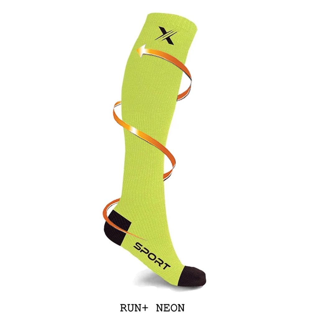 RUN+ RED/NEON/BLUE COMPRESSION SOCKS (3-PAIRS)