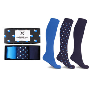 MEN'S STARTER COMPRESSION SOCKS // BLUE (3-PAIRS)