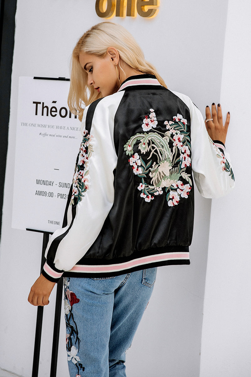 Jamie Embroidered Bomber Jacket - darcyroseuk