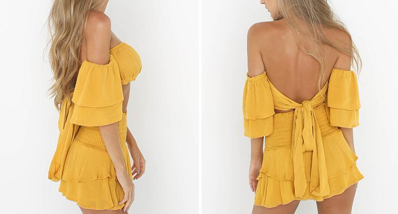 Paloma Ruffle Off the Shoulder Two Piece - darcyroseuk
