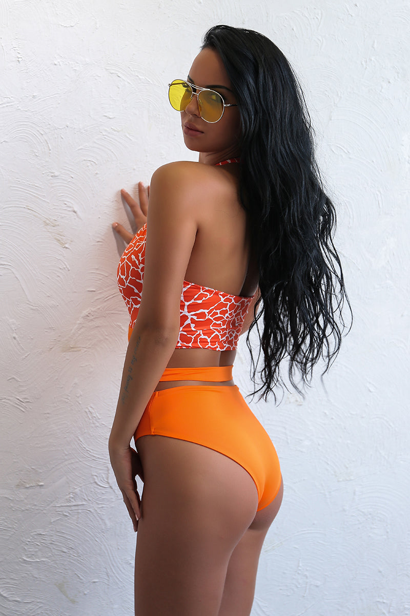 Bailey Orange Patterned Cut Out Swim - darcyroseuk