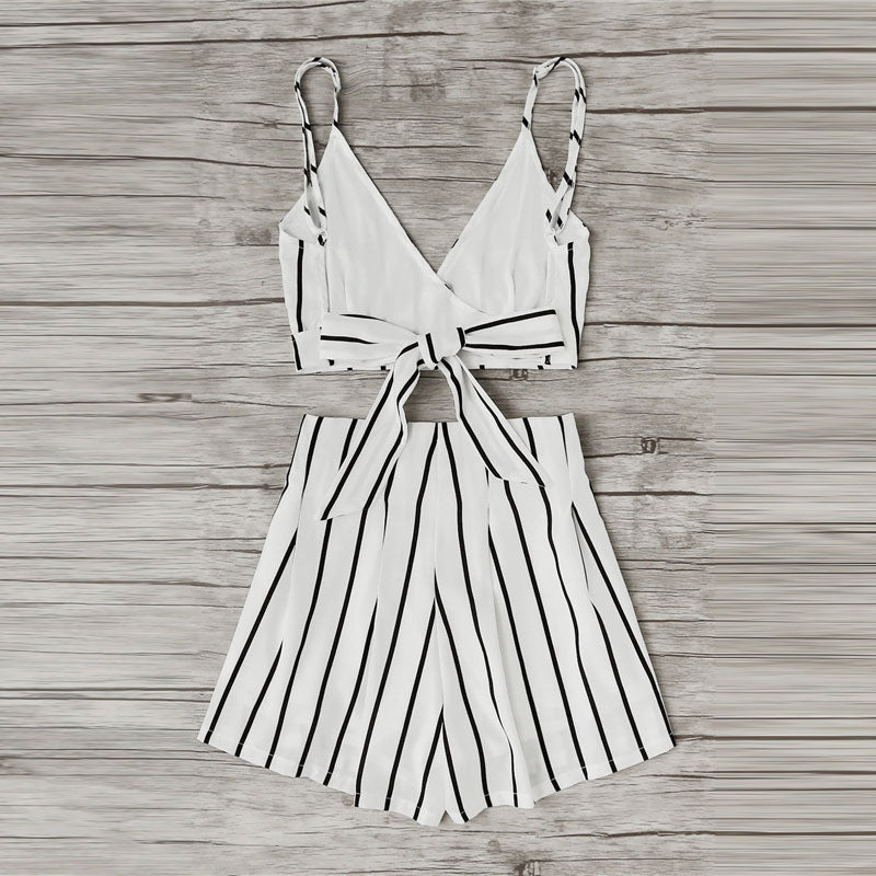 Carly Stripe Crop Two Piece - darcyroseuk
