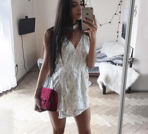Hattie Sequin Choker Playsuit - darcyroseuk