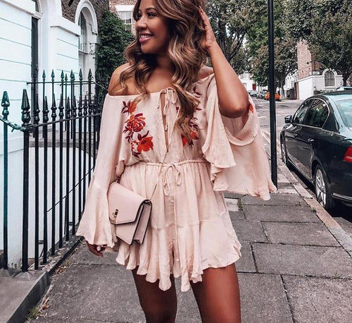 Freya Floral Embroidered Off the Shoulder Playsuit - darcyroseuk