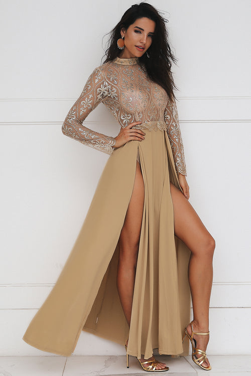 Cleopatra Gold Lace Split Dress - darcyroseuk