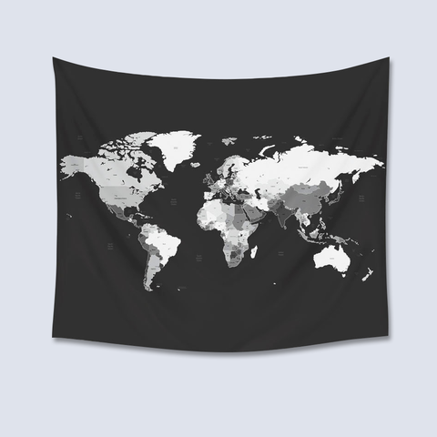 world map tapestry, black