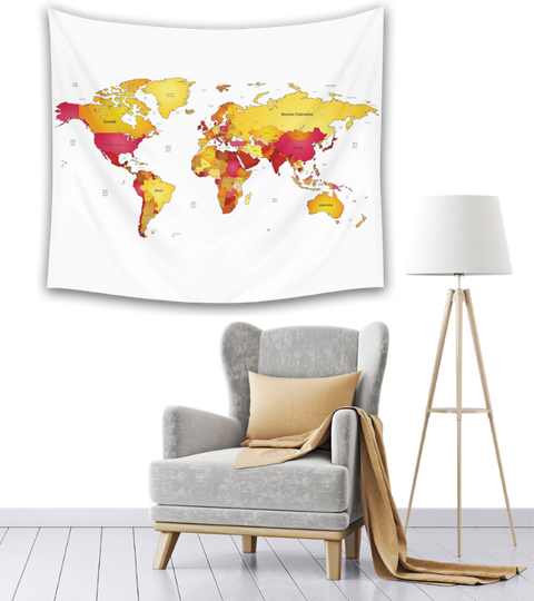 World Map Tapestry living room