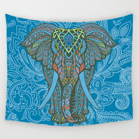 Elephant Wall Tapestry - Blue