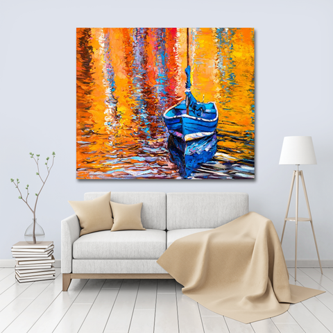 Oil Painting Tapestry - Boat in living room