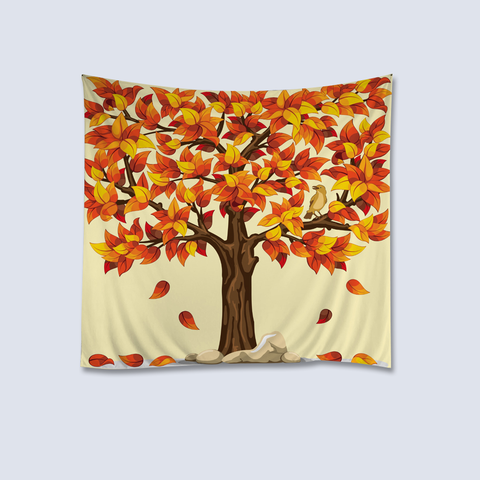 Orange Tree Art Wall Hanging Tapestry