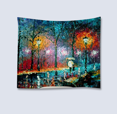 Painting on fabric tapestry - street