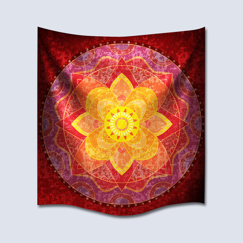 Mandala Tapestry red