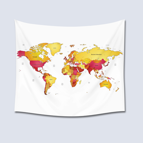 World Map Tapestry - Yellow