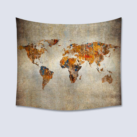 World Maps Wall Tapestry - brown
