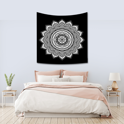 Black And White Mandala Tapestry Bedroom