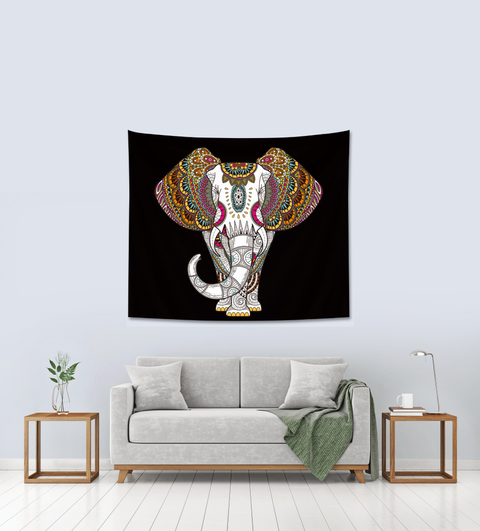 Black And White Elephant Tapestry, leaving room