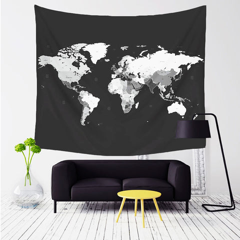 world map tapestry, leaving room