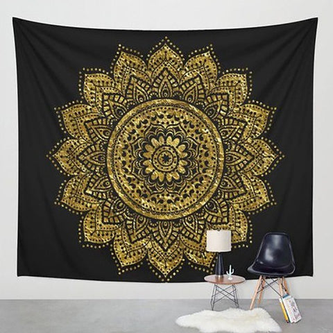 Golden Lotus Mandala Tapestry