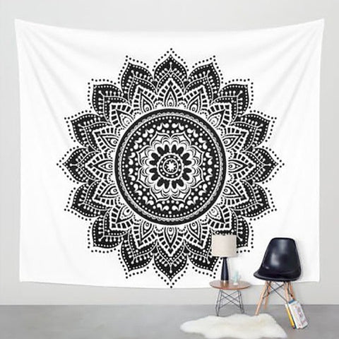 Mandala Black And White Tapestry