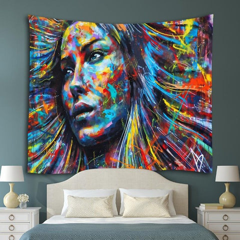Colorful women art tapestry