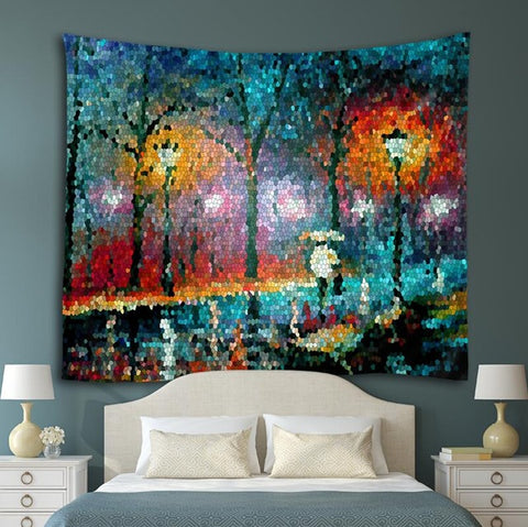 Painting on fabric tapestry, bed room
