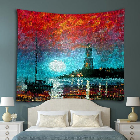 Lighthouse Painting Fabric Tapestry