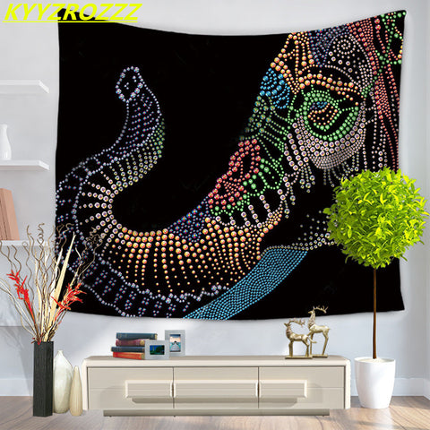 Elephant Head Hippy Bohemian Tapestry