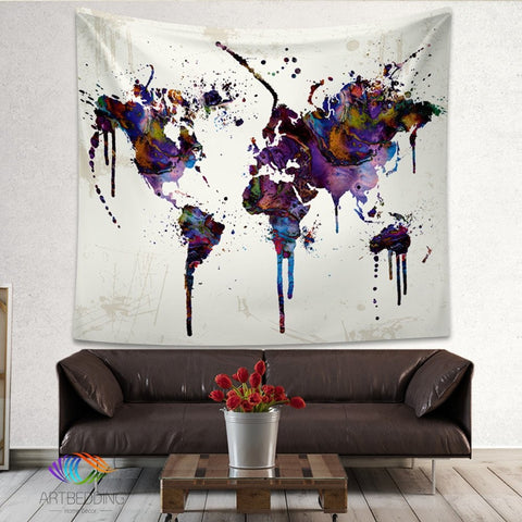 World Map Painting Tapestry living room