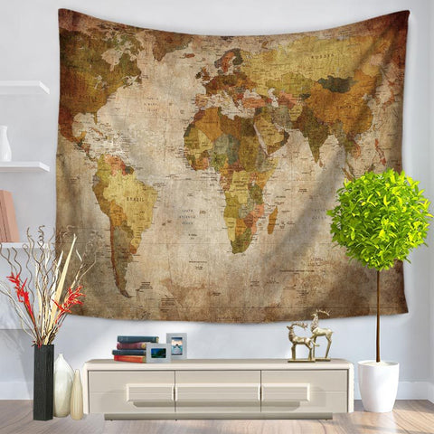 World Map Pattern Tapestry - brown