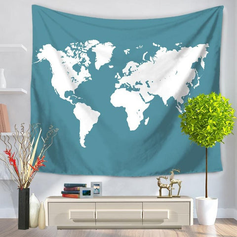 World Map Tapestry - blue