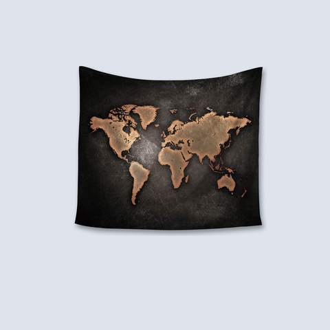 World Map Tapestry - black and gold