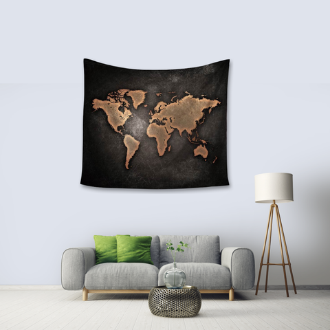 World Map Tapestry - black and gold - living room