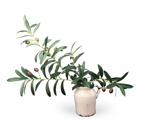 Small Rustic Urn with Olive Stalk - Karavanhk
