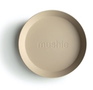 Mushie Round Dinner Plates Vanilla, Set of 2