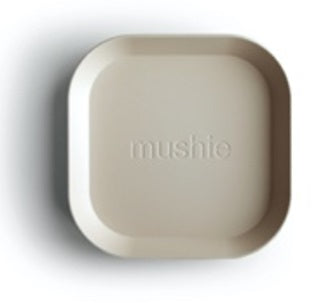 Mushie Square Dinner Plates Ivory, Set of 2