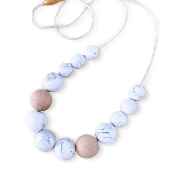 One.Chew.Three - Evie Necklace - Marble White - toybox.ae