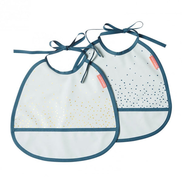 Done by Deer Tiny Bib, 2-Pack, Happy Dots, Blue - toybox.ae