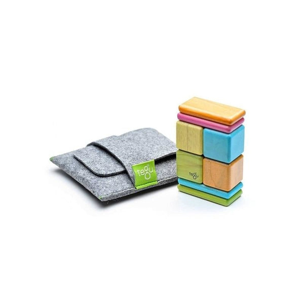 8 Piece Tegu Pocket Pouch Magnetic Wooden Block Set, Sunset - toybox.ae