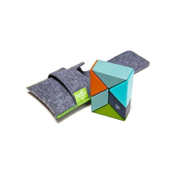 6 Piece Tegu Pocket Pouch Prism Magnetic Wooden Block Set, Nelson