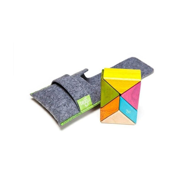 Tegu Prism Magnetic Building Blocks Pocket Pouch 6 Pieces Tints